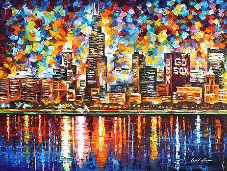 Chicago - PALETTE KNIFE Oil Painting On Canvas By Leonid Afremov by Leonid Afremov