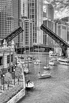 Chicago River Boat Migration in Black and White by Christopher Arndt