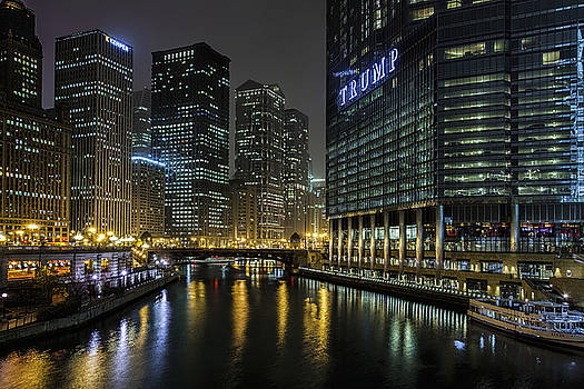 Chicago River Night View by Andrew Soundarajan