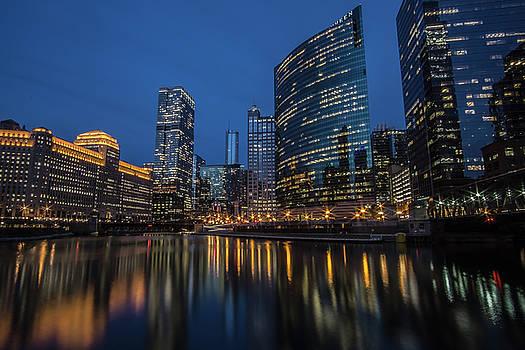 Chicago River Reflections at dusk  by Sven Brogren