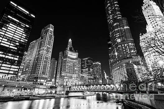 Paul Velgos - Chicago River Skyline at Night in Black and White