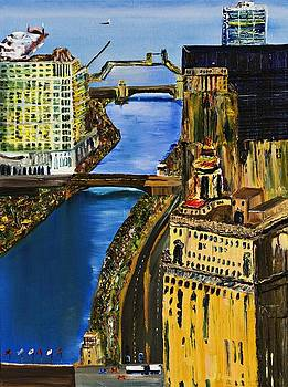 Chicago River Skyline by Gregory Allen Page