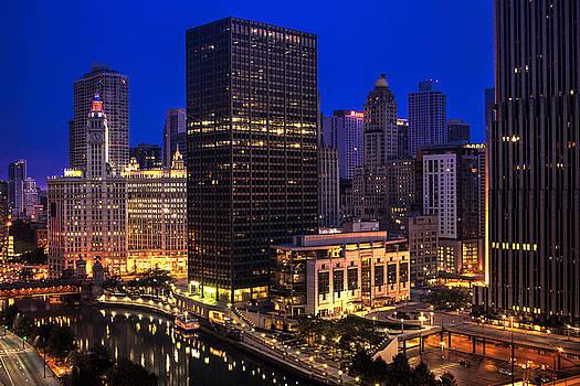 Chicago River Twilight Scene by Andrew Soundarajan