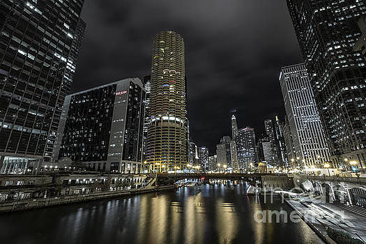 Chicago Riverfront Skyline at Night by Keith Kapple