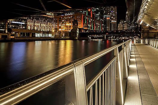 Chicago Riverwalk Night Scene by Sven Brogren
