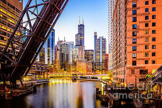 Chicago Skyline at Night and Kinzie Bridge by Paul Velgos