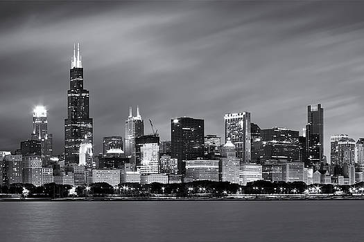 Chicago Skyline At Night Black And White  by Adam Romanowicz