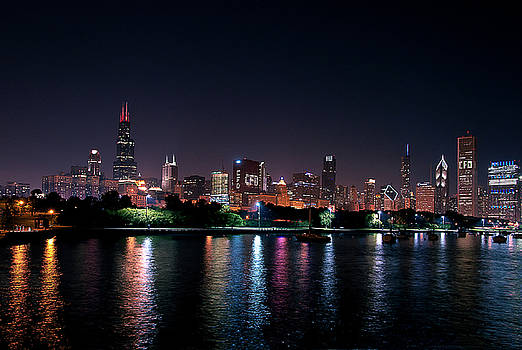 Chicago Skyline at Night by Maria Aiello