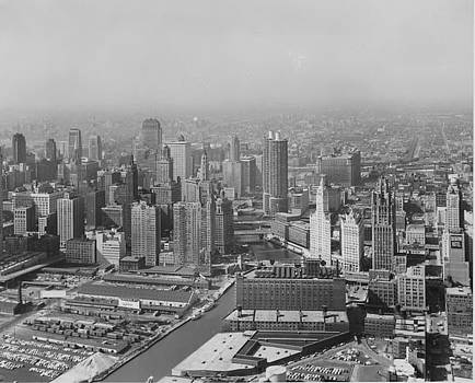 Chicago and North Western Historical Society - Aerial View of Chicago Skyline and Marina Towers