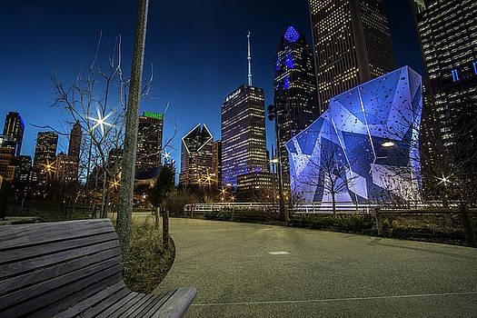 Chicago Skyline form Maggie Daley park at  dusk by Sven Brogren