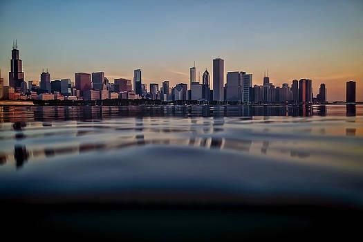 Chicago skyline from half underwater by Sven Brogren