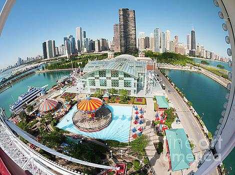 Chicago Skyline from the Navy Pier Ferris Wheel by Felix Choo