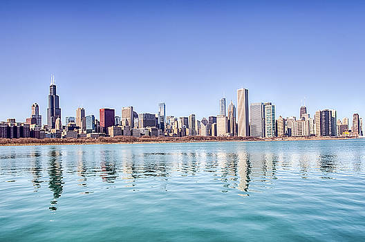 Chicago Skyline Reflecting in Lake Michigan by Peter Ciro