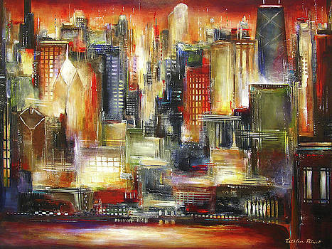 Chicago - The Sunset Skyline by Kathleen Patrick