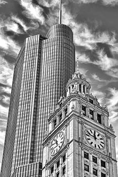 Chicago Trump And Wrigley Towers Black and White by Christopher Arndt