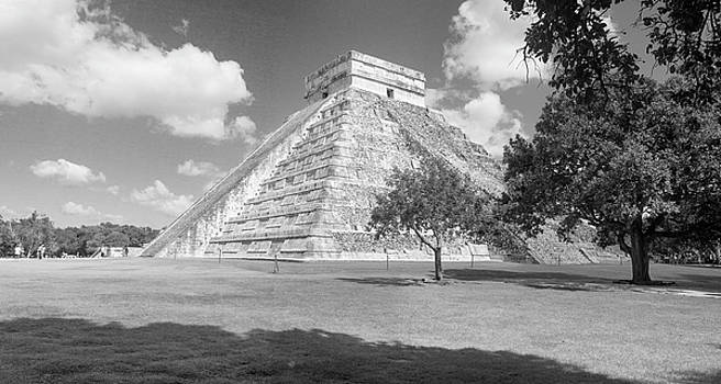 Chicen Itza Pyramid B W Pano by Peter J Sucy