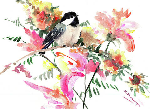 Chickadee and Pink, Orange, Yellow Flowers by Suren Nersisyan
