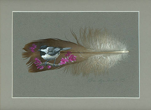 Chickadee Painted Feather by Brandy Woods