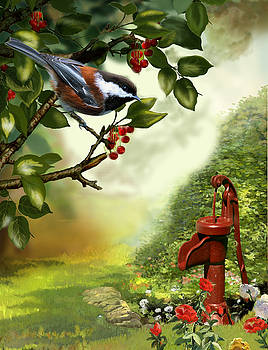 Chickadee visiting the water pump by Regina Femrite