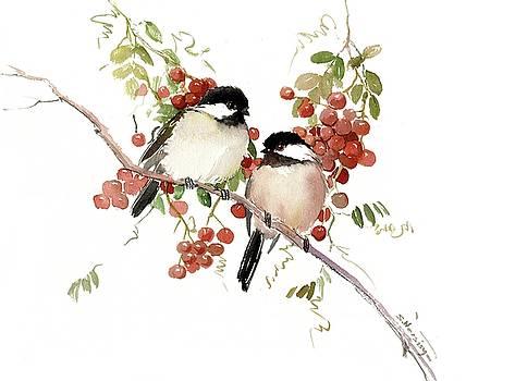 Chickadees And Berries by Suren Nersisyan