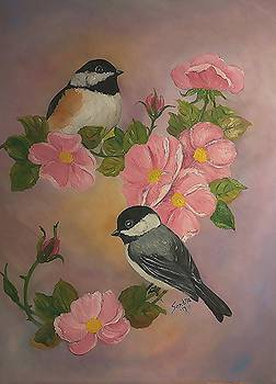 Chickadees and Roses by Sandra Maddox