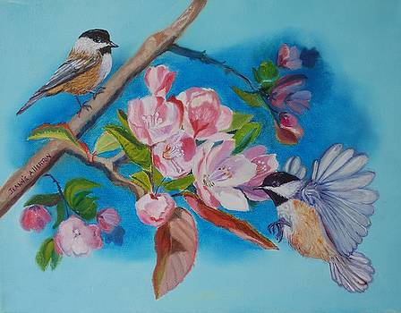 Chickadees in the Apple Blossoms by Jeannie Allerton
