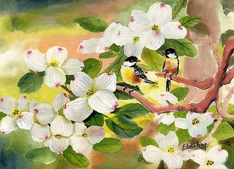 Chickadees in the Dogwood Tree by Eileen  Fong