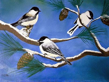 Chickadees in Winter by William OHair