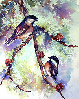 Peggy Wilson - Chickadees on Twig