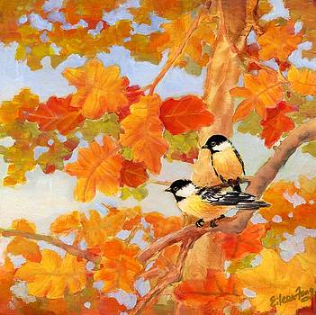 Chickadees with Oak Leaves by Eileen  Fong