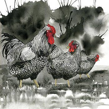 Marilyn Smith - Chickens In Black and Whiite