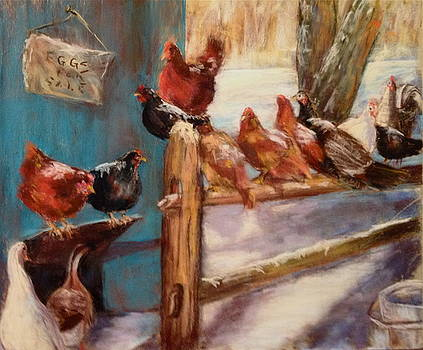 Chickens in the snow by Joan Wulff