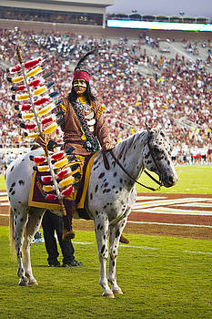 Chief Osceola and Renegade on Bobby Bowden Field by Frank Feliciano