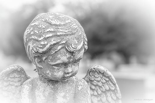 Child Angel with Wings, Cemetery Angel Black and White by Melissa Bittinger