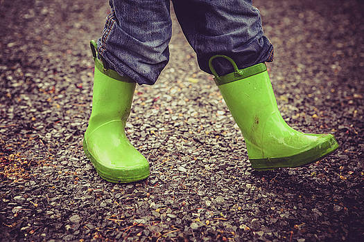 Child In Green Mud Rain Boots by Debi Bishop