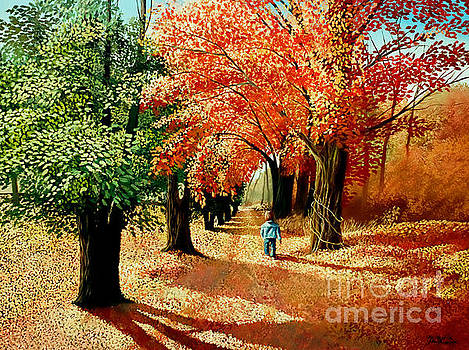 Christopher Shellhammer - Child walking into the Autumn Forest