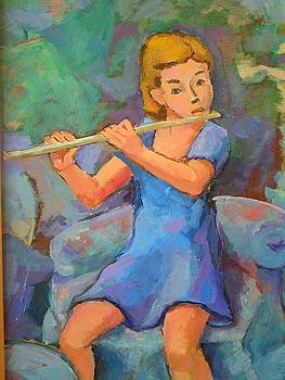 Child with flute by Alfons Niex