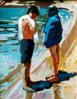 Children at the beach by George Siaba