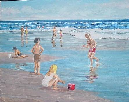 Children at the beach by Perrys Fine Art