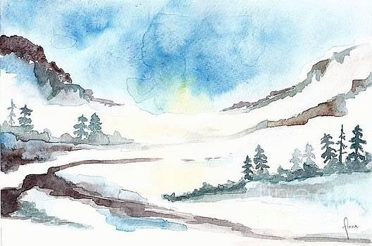Children's book illustration of mountains by Annemeet Hasidi- van der Leij