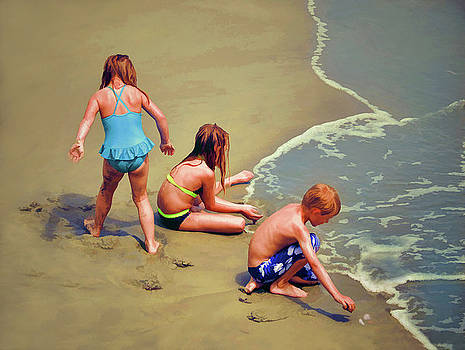 Childrens Shell Hunting At The Beach by Sandi OReilly
