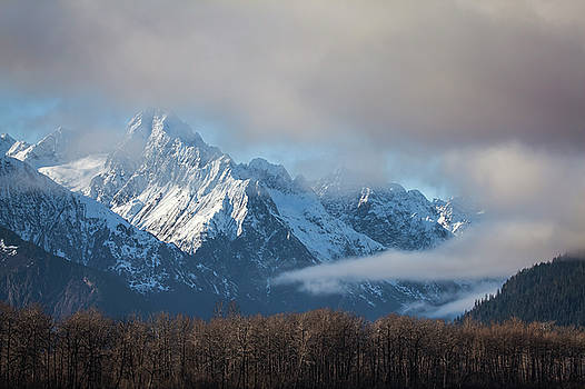 Chilkat mountains with clearing fog by Michele Cornelius