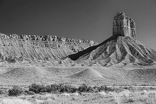 Chimney Rock in Black and White - Towaoc Colorado by James BO Insogna