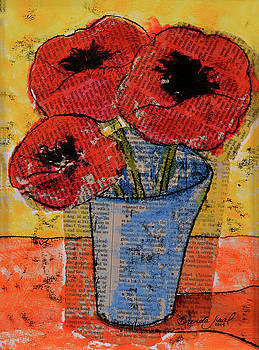 Chine-Colle' Poppies by Brenda Jiral