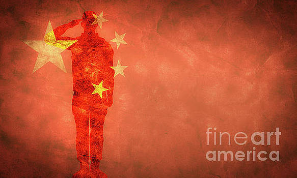 Michal Bednarek - Chinese grunge flag with soldier silhouette.