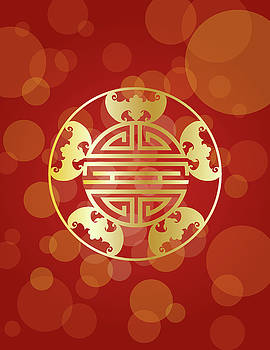Chinese Longevity Five Blessings Symbols Red Background Illustra by Jit Lim