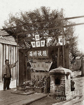 California Views Archives Mr Pat Hathaway Archives - Chinese man looking at Joss House, temple altar at Chinese villa