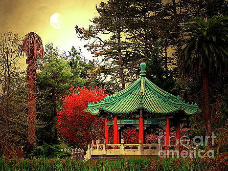 Chinese Pavilion Under Golden Moonlight by San Francisco