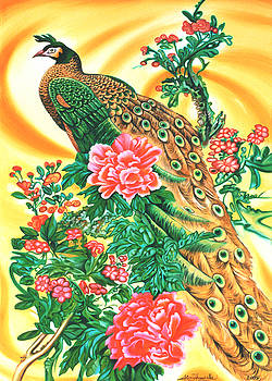 Chinese peacock in Indian yellow by Ismaele Alongi