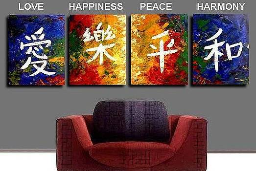 Chinese Symbols of Love Happiness Peace Harmony by Teo Alfonso